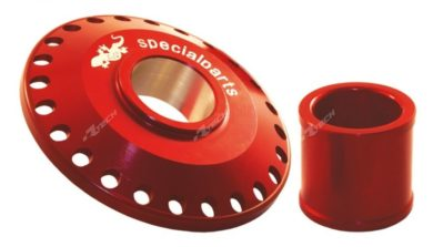 GECO Works Front Wheel Spacer Honda CR CRF 02- Rot